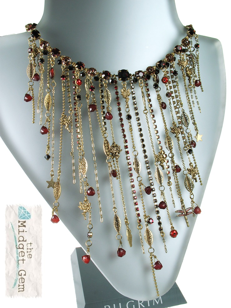 PILGRIM - Waterfall Necklace - Gold/Red BNWT