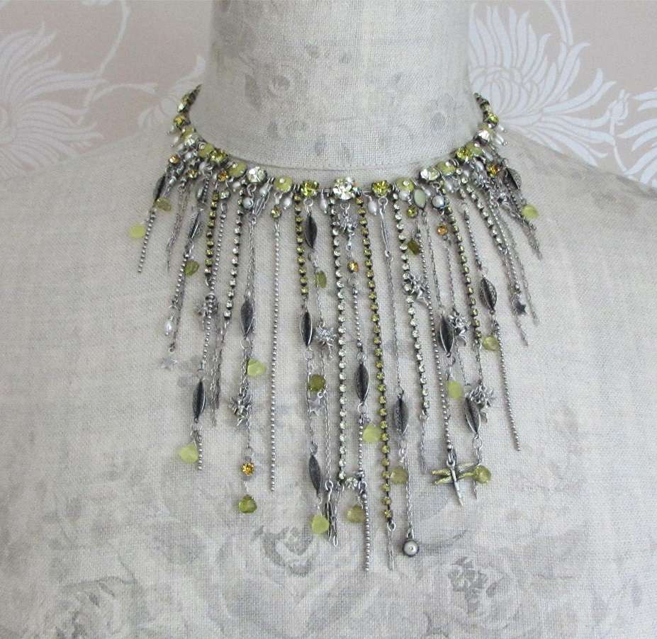 PILGRIM - Waterfall Necklace - Silver/Yellow BNWT