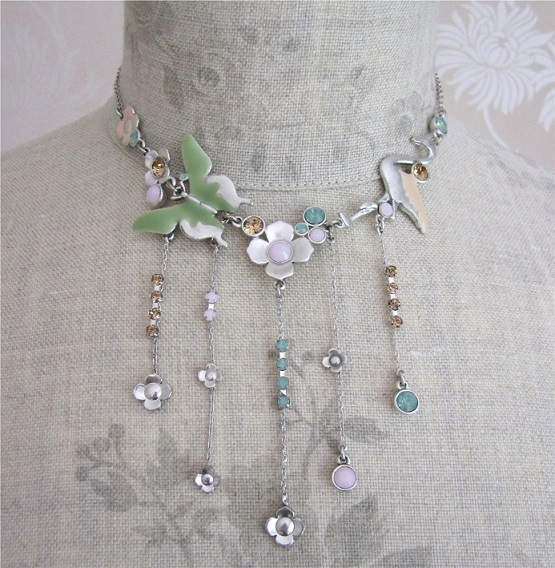 PILGRIM - Pink, Green & Silver Plate Flamingo Necklace