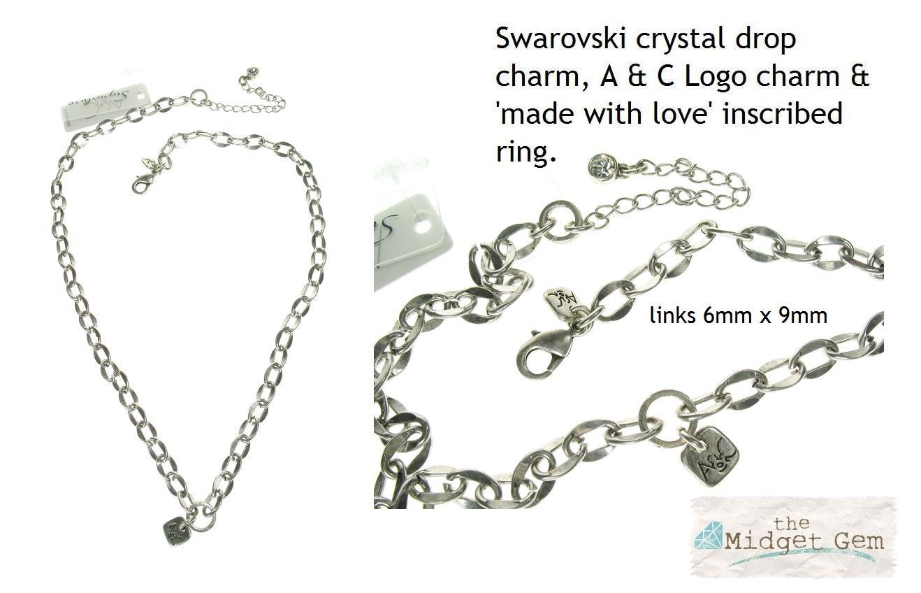 A & C Flat Link Necklace For Clasp-on Charms