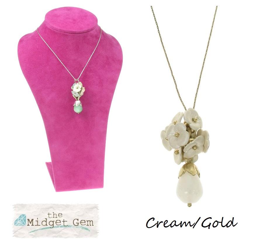 BOHM Flourescence Flower Cluster Pendant Necklace - Gold/Cream