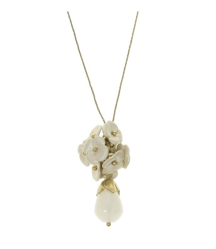 BOHM Flourescence Flower Cluster Pendant Necklace - Gold/Cream