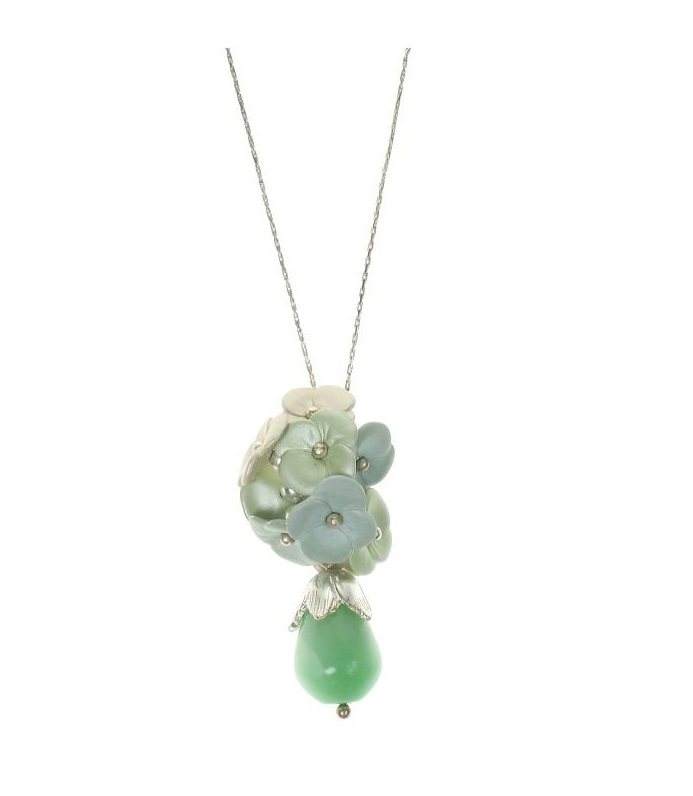 BOHM Flourescence Flower Cluster Pendant Necklace - Silver/Green