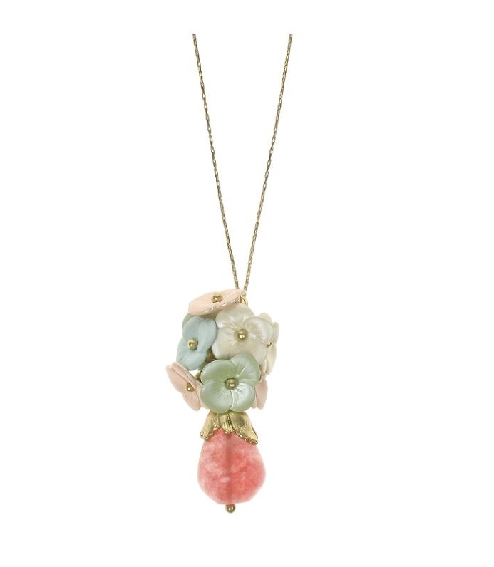BOHM Flourescence Flower Cluster Pendant Necklace - Gold/Multi