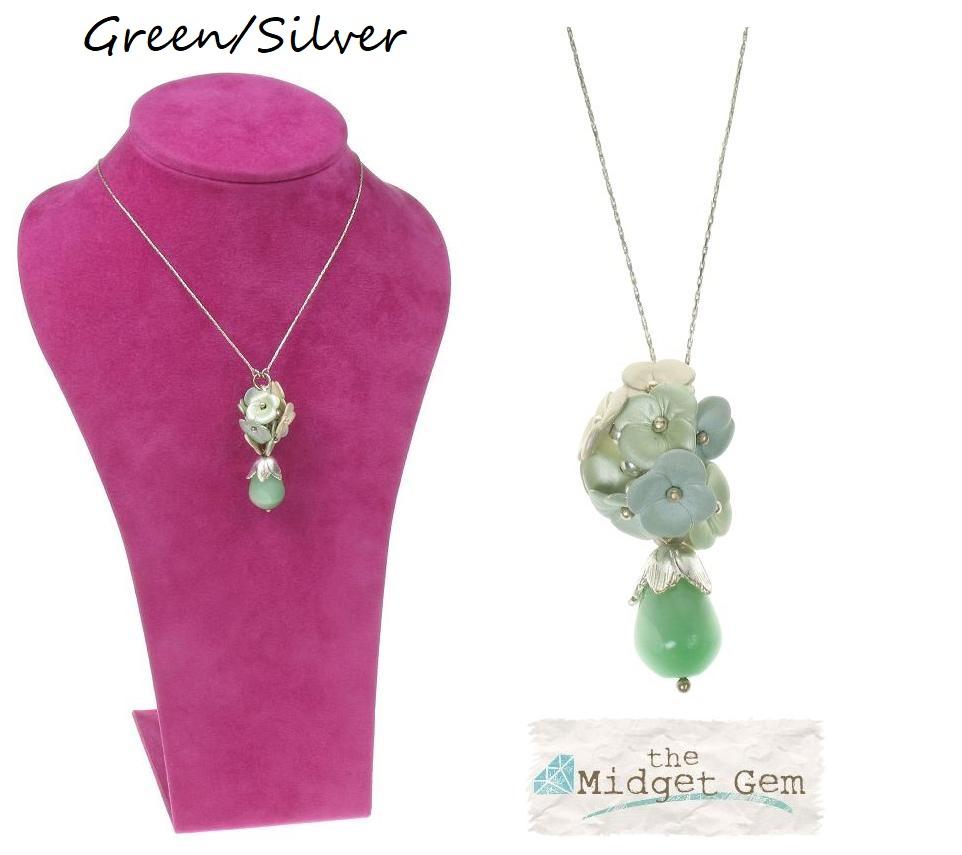 BOHM Flourescence Flower Cluster Pendant Necklace - Silver/Green