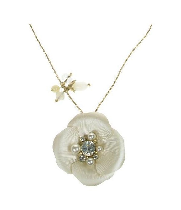 BOHM Flourescence Flower Pendant Necklace - Gold/Cream