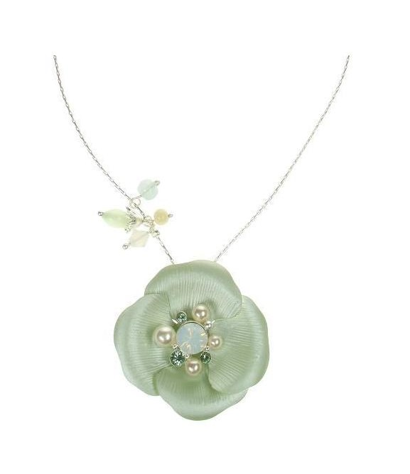BOHM Flourescence Flower Pendant Necklace - Silver/Green