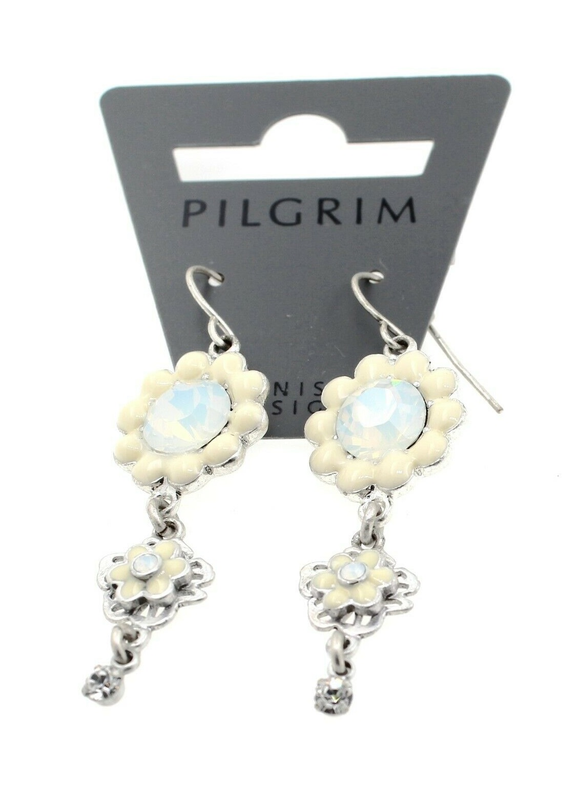 PILGRIM - Flower Two Drop Earrings - Oxidised Silver Plate/White/Cream BNWT