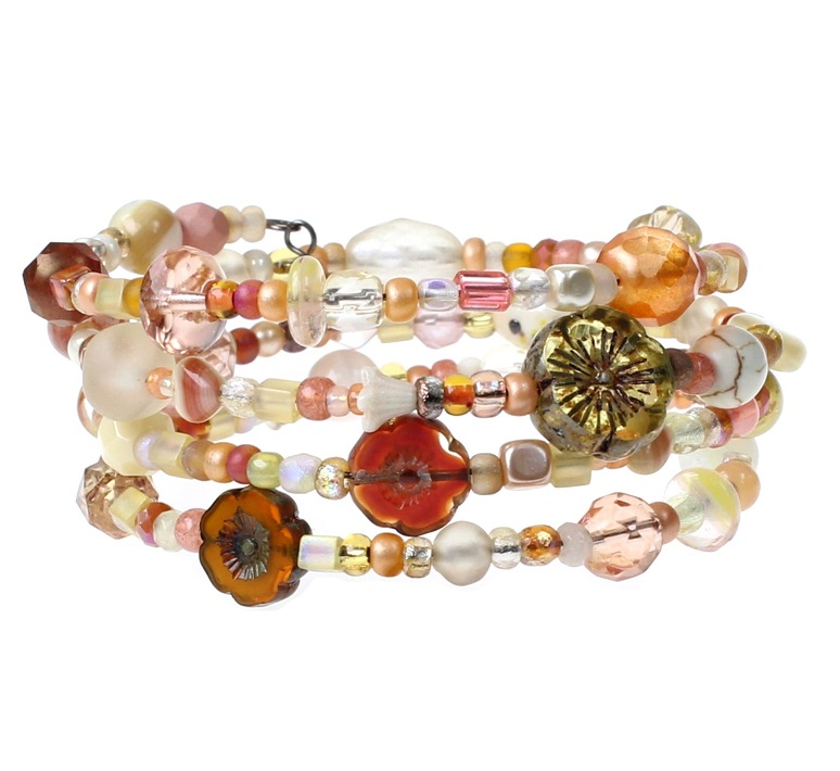 'Frilly-Pink' Memory Wire Wrap Bracelet - Pale Yellow, Ivory & Orange