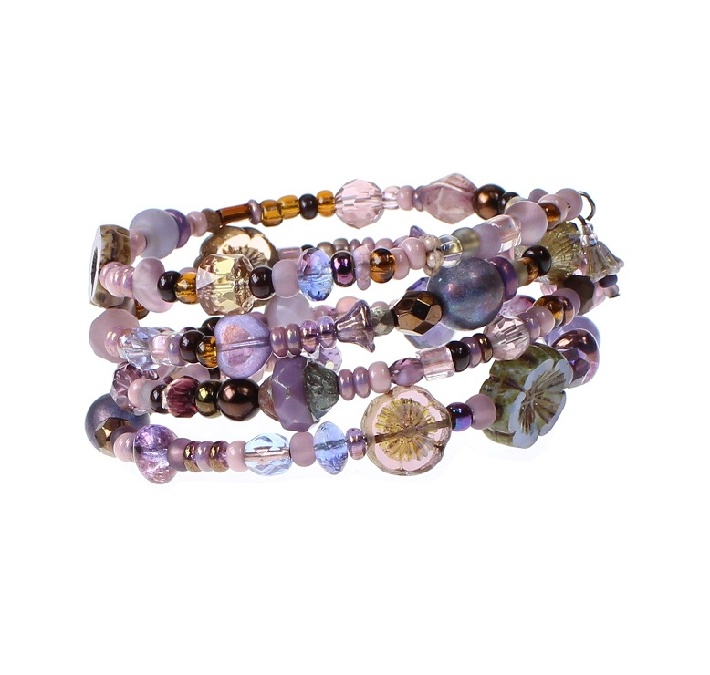 'Frilly-Pink' Memory Wire Wrap Bracelet - Purple/Amethyst & Bronze Mix