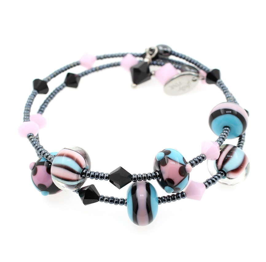Pink, Black & Turquoise - 2 Loop LIMITED EDITION #1 Lamp-work Glass & Haematite Wrap Bracelet