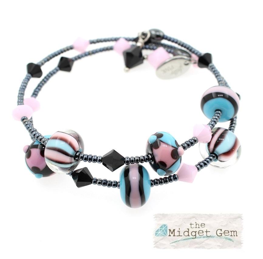 Pink, Black & Turquoise - 2 Loop LIMITED EDITION #1 Lamp-work Glass & Haematite Wrap Bracelet