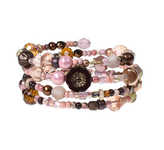 'Frilly-Pink' Memory Wire Wrap Bracelet - Brown & Dusty Pink