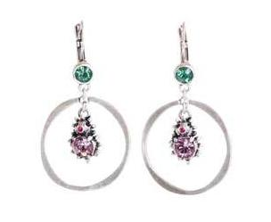 A & C Hedgehog Hoop & Swarovski Crystal Earrings