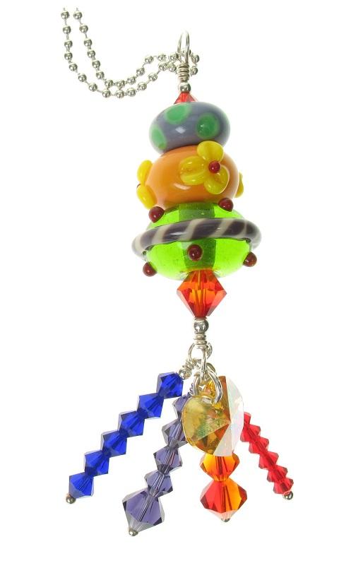 Glass Trio Pendant - Carnival Vibrant Colours - OOAK 2