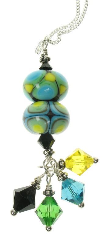 Glass Bead Duo Pendant - Green/Turquoise/Yellow - OOAK