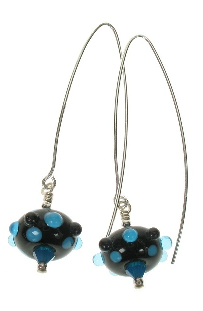 Moretti Glass Bead Hook Earrings - Black, Blue & Clear/Sterling Silver
