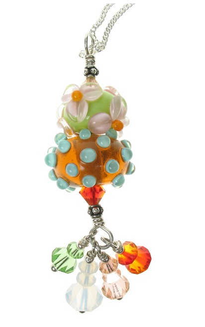 Glass Bead Duo Pendant - Tangerine/Lime Flowers - OOAK