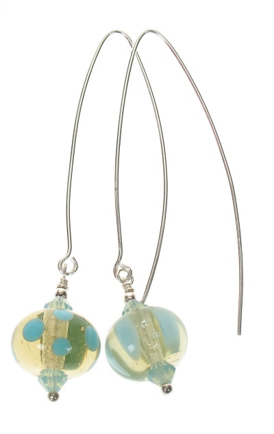 Moretti Glass Bead Hook Earrings - Clear Khaki & Turquoise/Sterling Silver