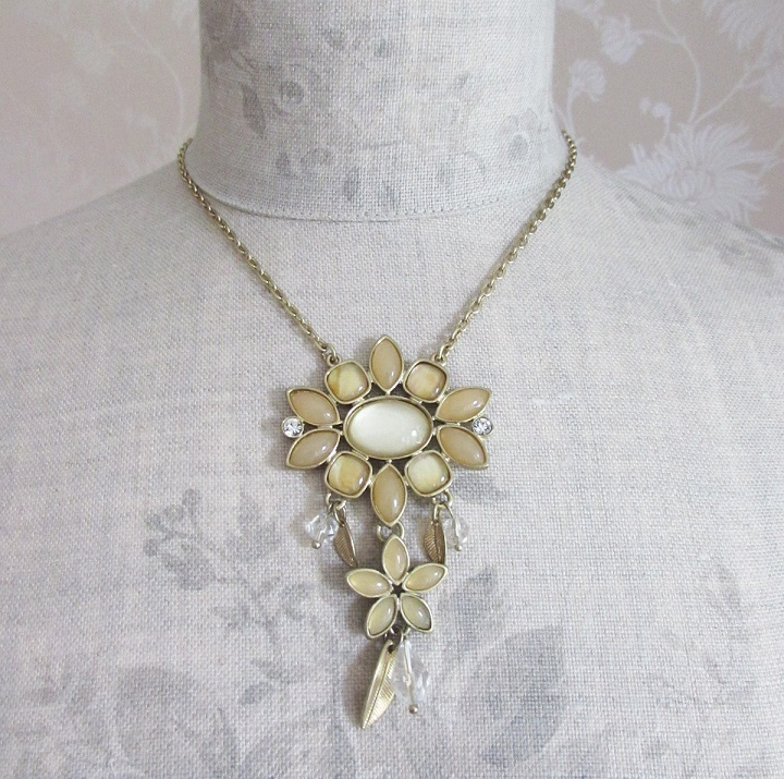BOHM - Glass Petals Flower Pendant Necklace - Oxidised Gold/Sandy Beige BNWT