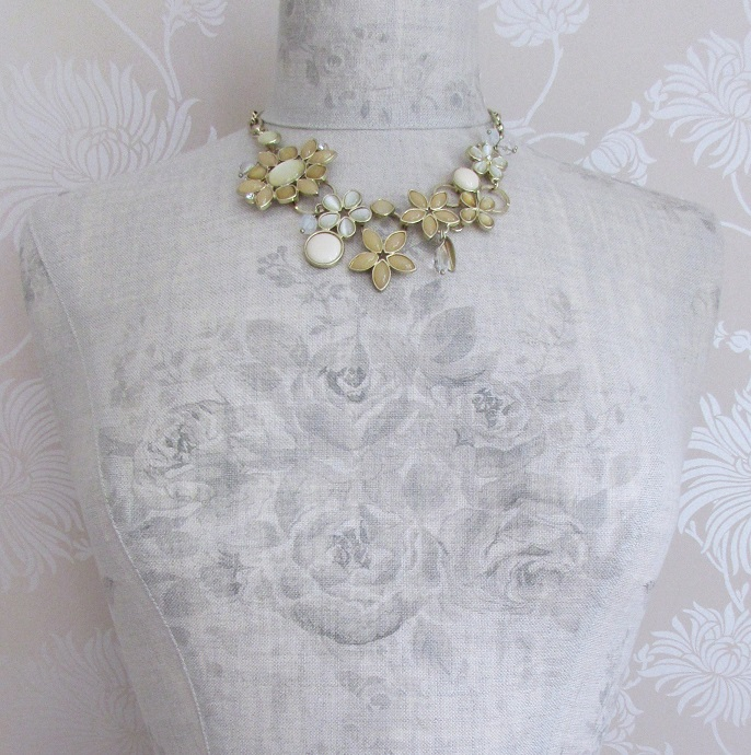 BOHM Flower Bib Necklace - Gold/Sandy Cream Pearl Opal GLASS Cabochons BNWT