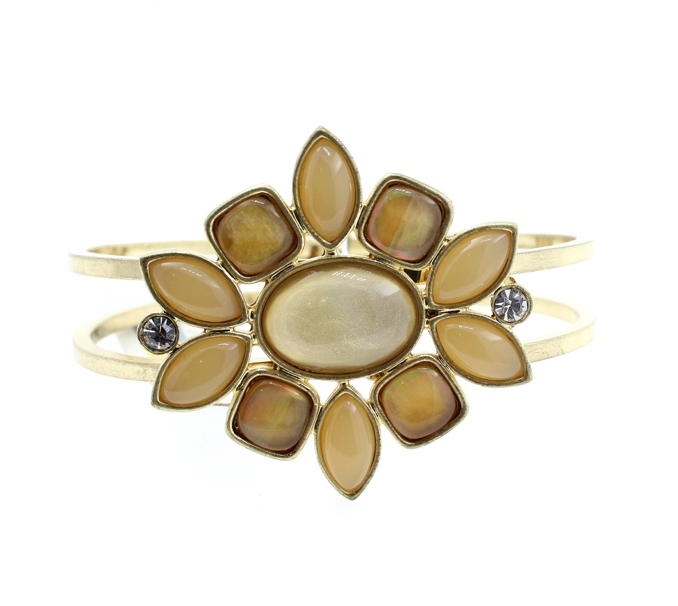 BOHM - Glass Petals Hinged Bangle - Oxidised Gold/Sandy Beige BNWT