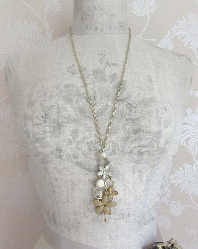 BOHM - Long Floral Necklace - Gold/Sandy Beige Iridescent Glass Cabochons BNWT