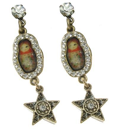 Russian Doll & Star Earrings By PILGRIM