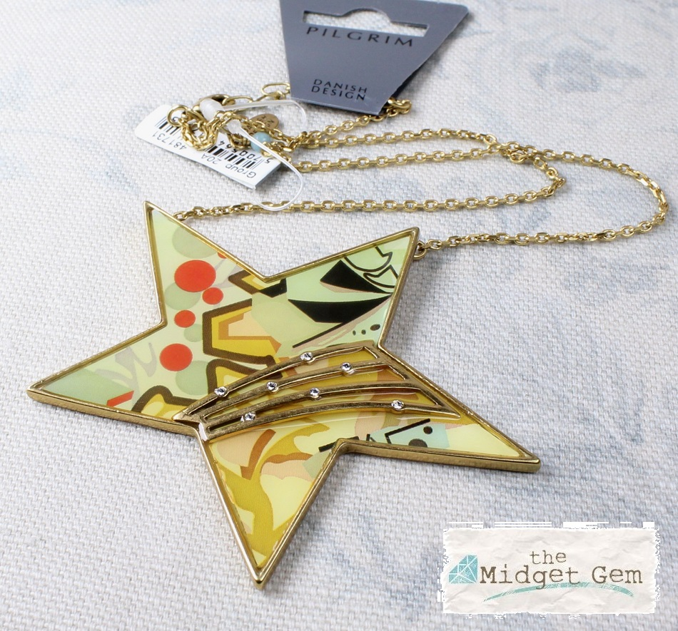 PILGRIM - Graffiti Star Necklace - Gold/Pastels BNWT