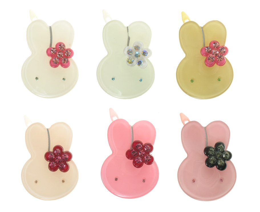 BIG BABY Little Rabbit With Flower Hair Slide/Clip - Colour Set 2
