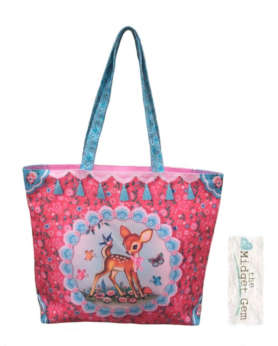Happy Deer - Shopper/Tote Bag - Pink Canvas - Fiona Hewitt
