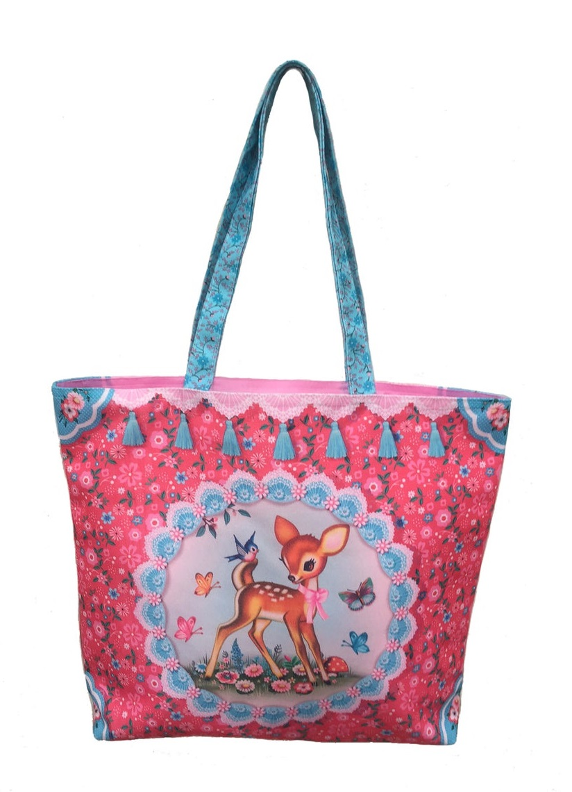 Happy Deer - Shopper/Tote Bag - Pink Canvas - Fiona Hewitt