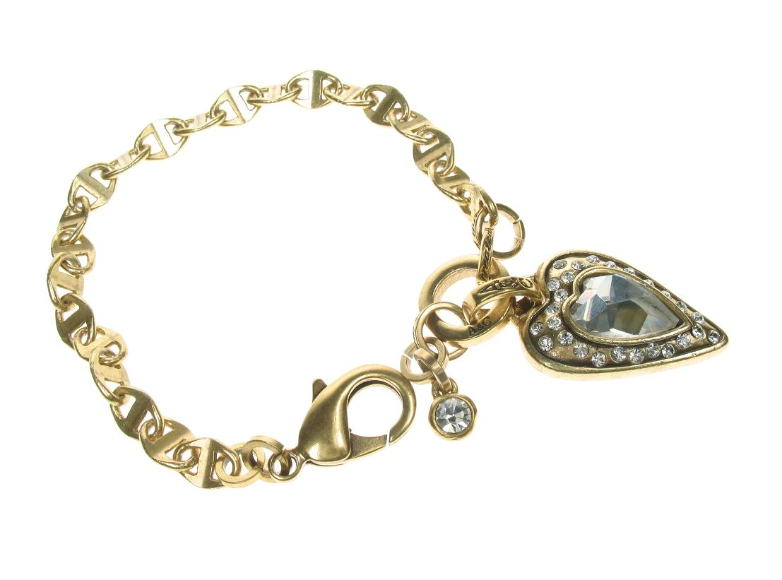 Gold Faceted Crystal Heart  Stud Bracelet By A & C
