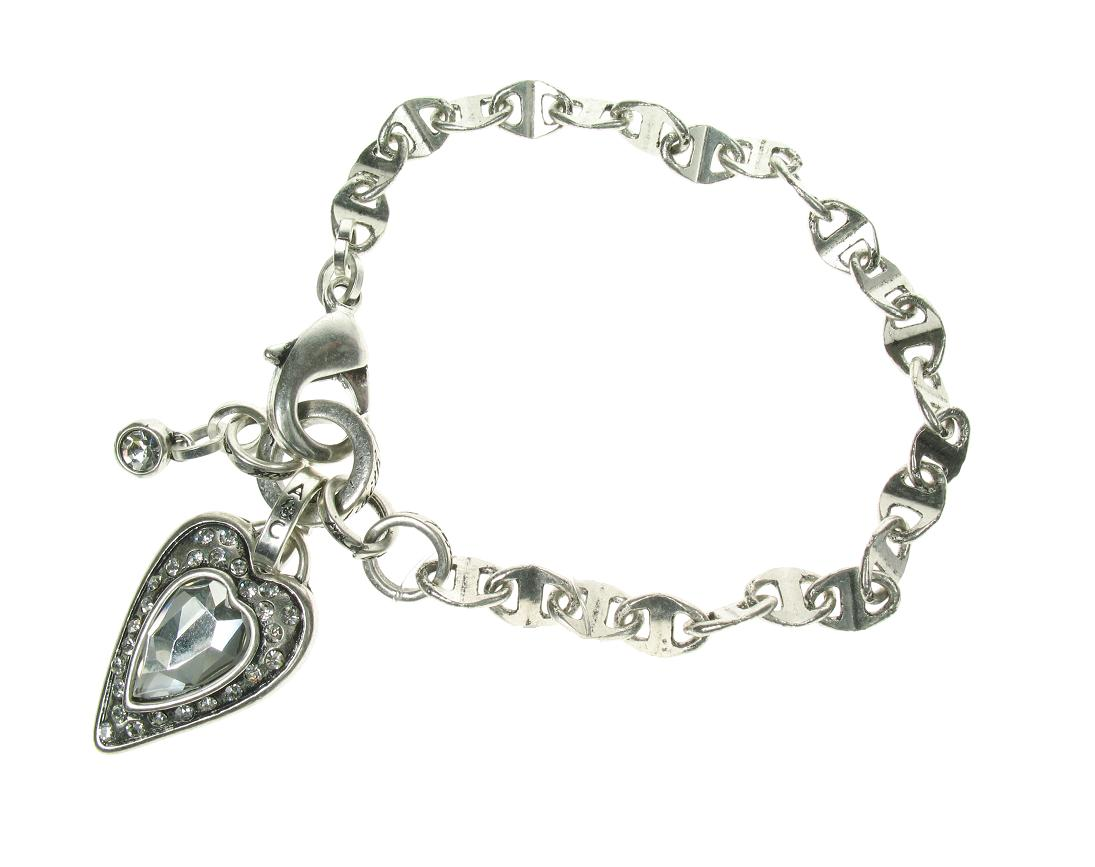 Silver Faceted Crystal Heart Stud Bracelet By A & C
