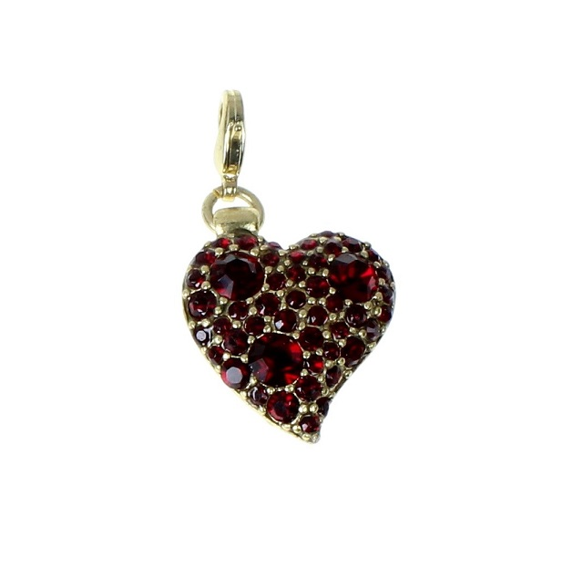 Pilgrim Charm Red Swarovski Studded Gold Heart