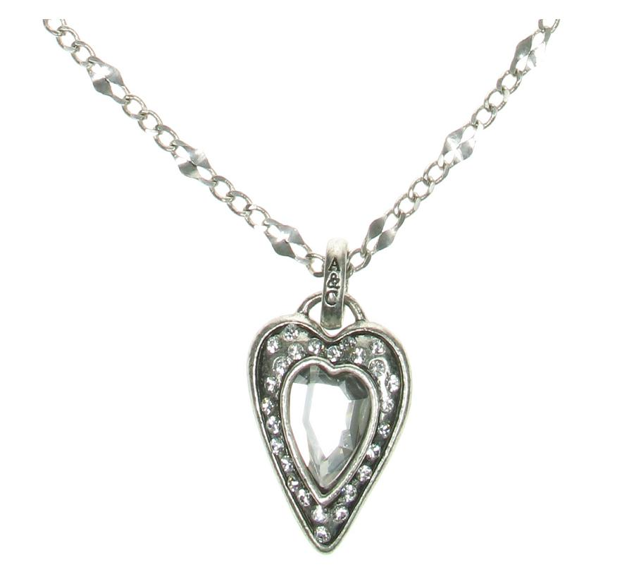 Silver Faceted Crystal Heart Stud Necklace By A & C