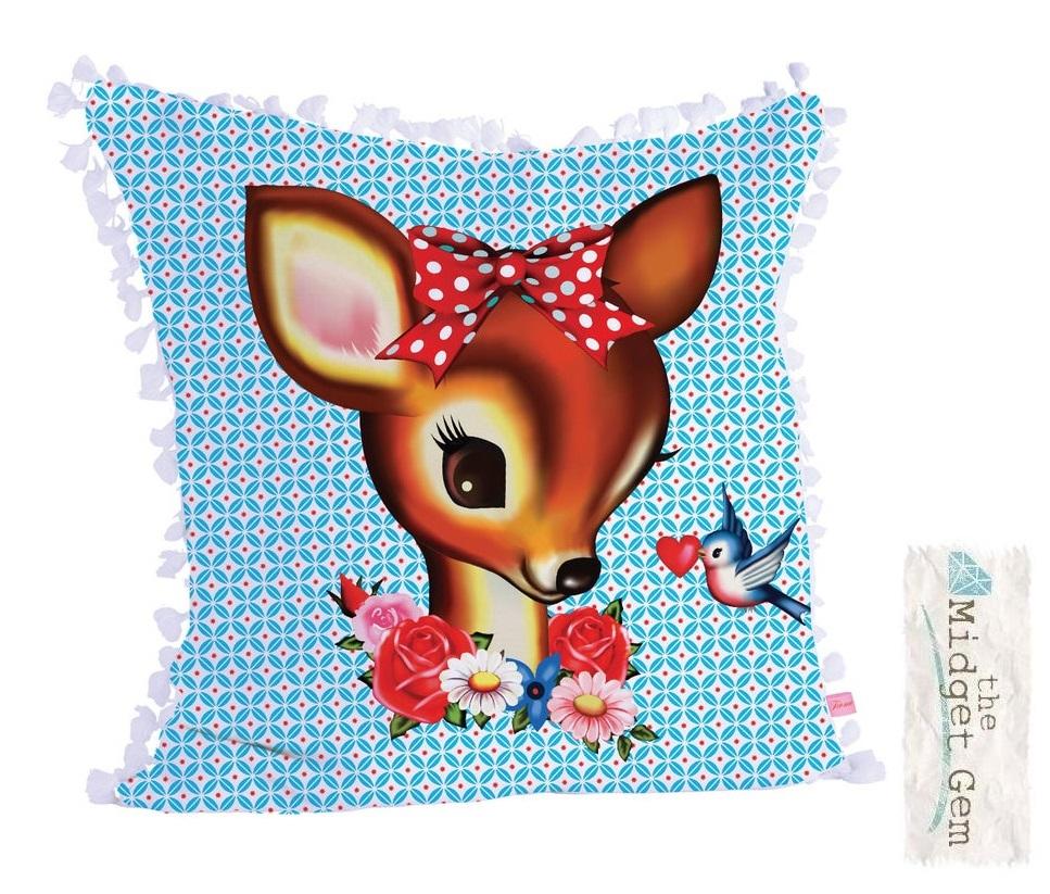 Deer & Bird Square Cushion Cover With White Tassel Trim - Fiona Hewitt
