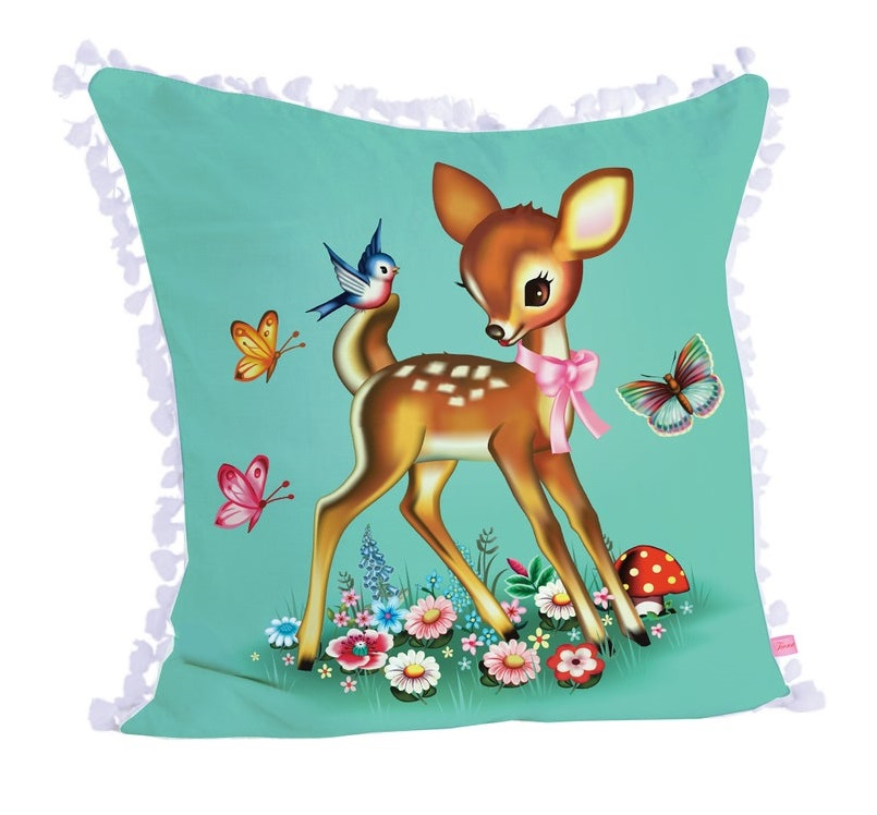 Cute Deer Square Cushion Cover - Turquoise Green With White Tassel Trim - Fiona Hewitt