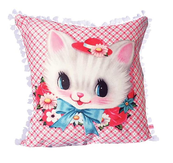 White Kitten Square Cushion With Tassel Trim - Fiona Hewitt