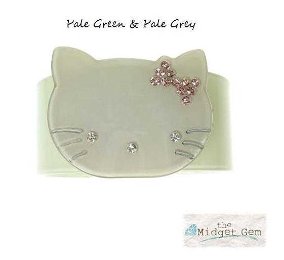 Kitty Cat Green & Grey Cuff - BIG BABY Bangle
