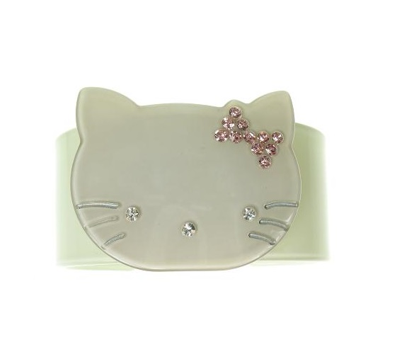 Kitty Cat Green & Grey Cuff - BIG BABY Bangle
