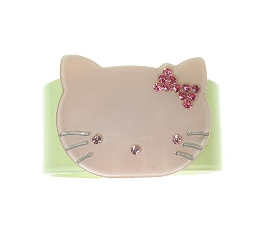 Kitty Cat Green & Pink Cuff - BIG BABY Bangle