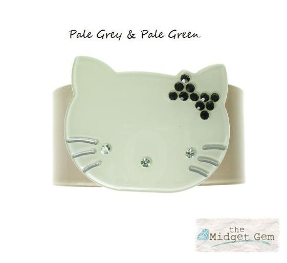 Kitty Cat Grey & Green Cuff - BIG BABY Bangle