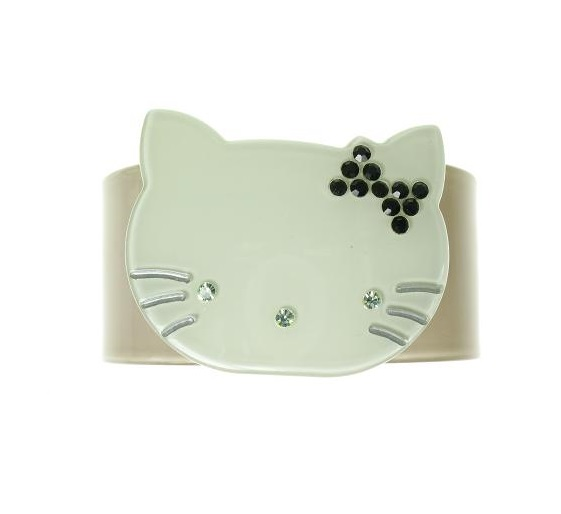 Kitty Cat Grey & Green Cuff - BIG BABY Bangle