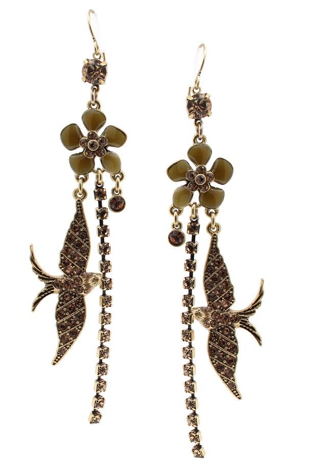 PILGRIM - Favourites - Elaborate Earrings Brown & Gold BNWT