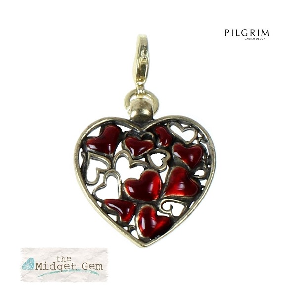 Pilgrim Charm Red Enamel Cut Out Gold Heart