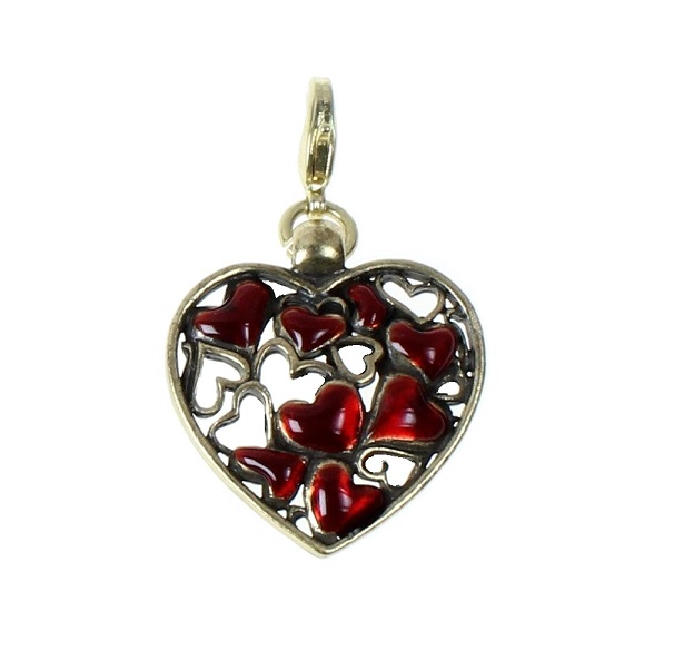 Pilgrim Charm Red Enamel 'Cut-Out' Gold Heart