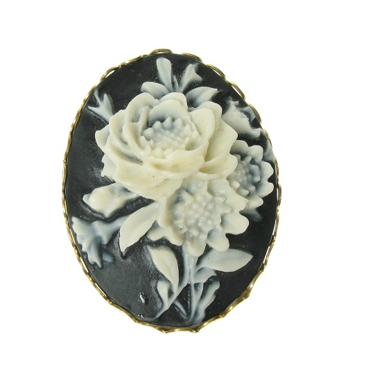 Maria Allen Black & White Rose Cameo Brooch - Gold Plate