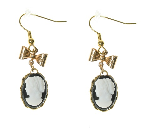 Maria Allen Black Cameo Gold Plate Earrings