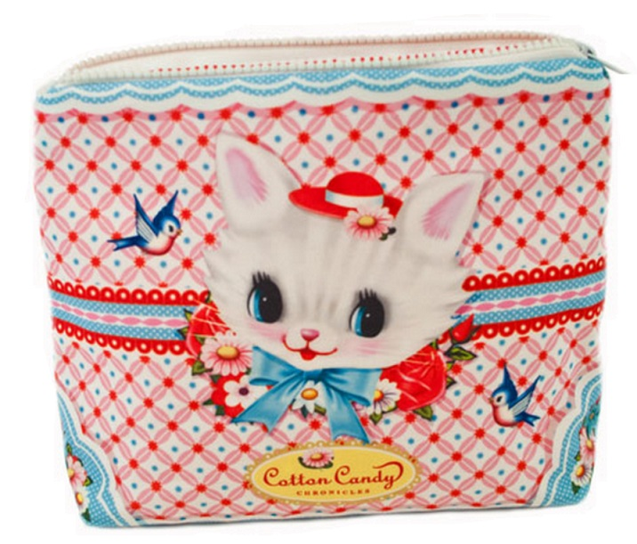 White Kitten Make-Up Case - Five & Five Vintage